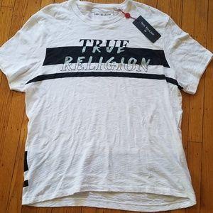 True Religion White & Black Spellout T-Shirt | NWT